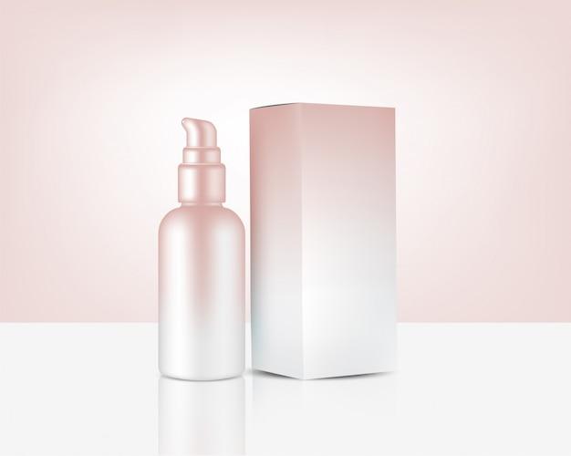 Pompe de bouteille de pulvérisation maquette cosmétique et boîte réalistes en or rose pour produit de soin de la peau Vecteur Premium