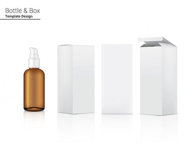Pompe De Pulvérisation Bouteille Ambre Transparente Maquette Cosmétique Réaliste Et Boîte Vecteur Premium