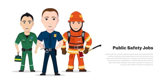 Pompier, Ambulancier Et Policier. Spécialistes Des Services D'urgence, Personnages De Travailleurs De La Sécurité Publique Sur Fond Blanc. Vecteur Premium