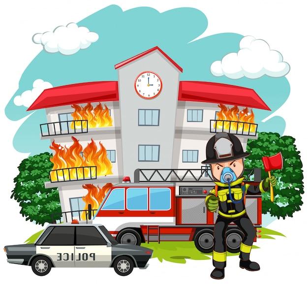 Pompier à la caserne des pompiers Vecteur gratuit