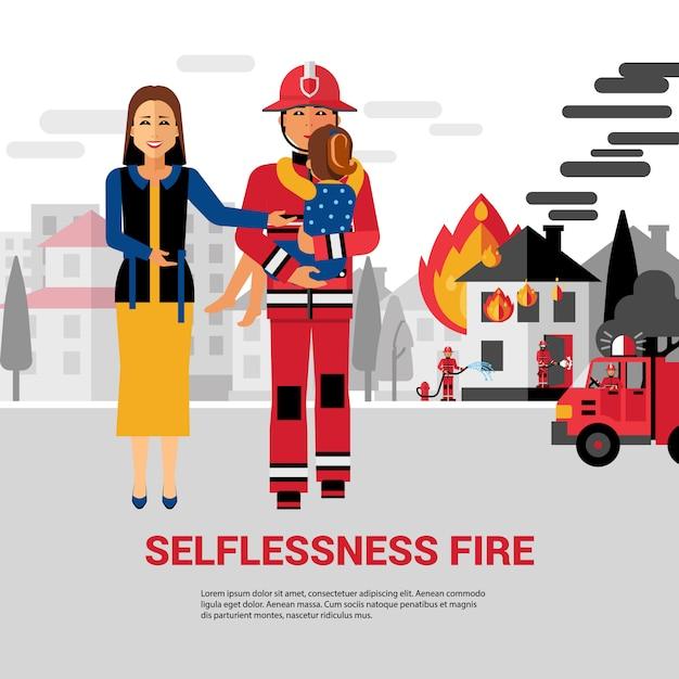 Pompier sauver l'enfant Vecteur gratuit