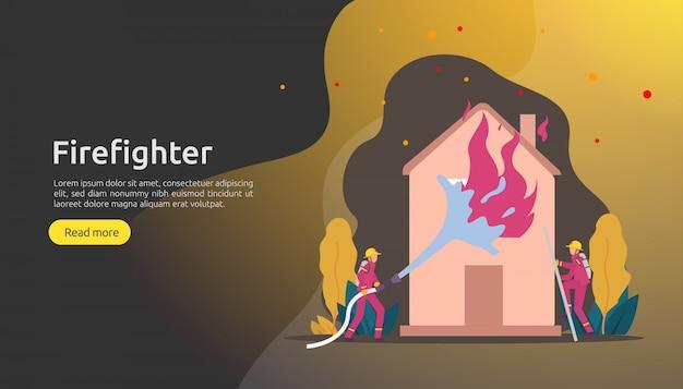Pompier en uniforme utilisant un jet d'eau d'un tuyau pour la maison en flammes Vecteur Premium