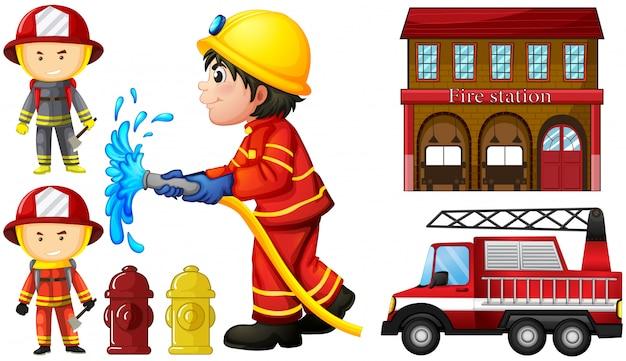 Pompiers et caserne de pompiers Vecteur Premium