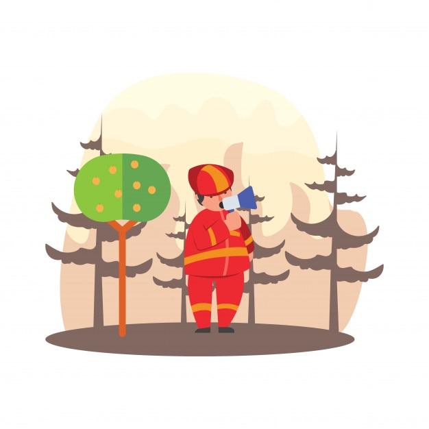 Pompiers, donnant des avertissements par haut-parleurs sur les incendies dans le personnage de dessin animé de feux de forêt Vecteur Premium