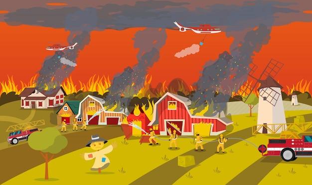 Les pompiers éteignent la ferme. feu de forêt de concept. Vecteur Premium