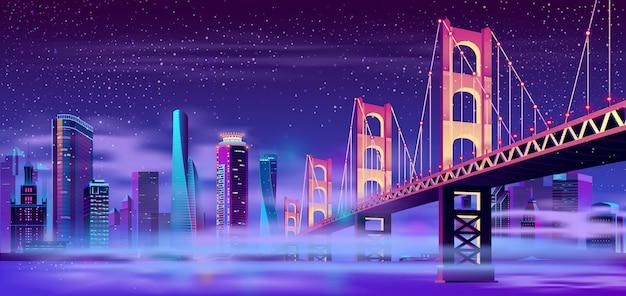 Pont Articulé Dans La Mégapole Avec Brouillard Vecteur gratuit