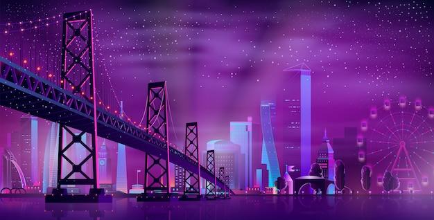 Pont articulé de vecteur au parc d'attractions Vecteur gratuit