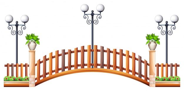 Pont Avec Clôture En Bois Et Lampe Vecteur gratuit