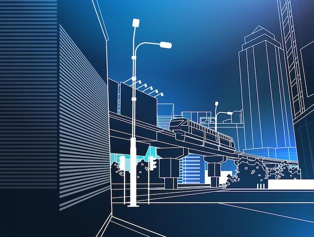 Pont Ferroviaire Urbain Moderne De Paysage Urbain Sur Fond Bleu Fine Ligne Vecteur Premium