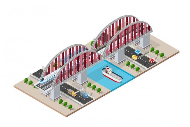 Pont isométrique ferroviaire avec voie ferrée et grande vitesse Vecteur Premium