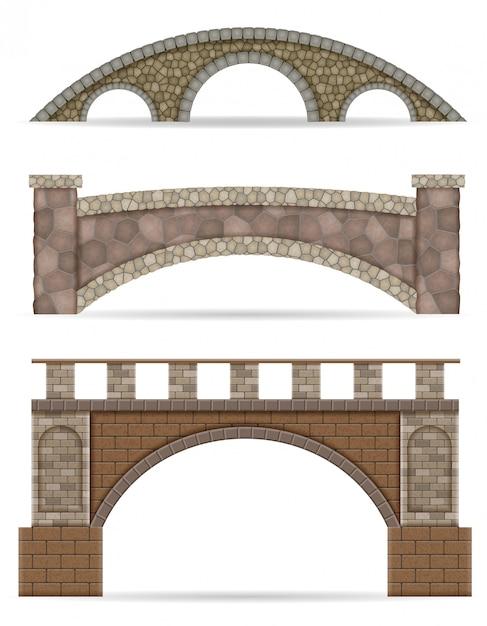 Pont En Pierre Stock Illustration Vectorielle Vecteur Premium