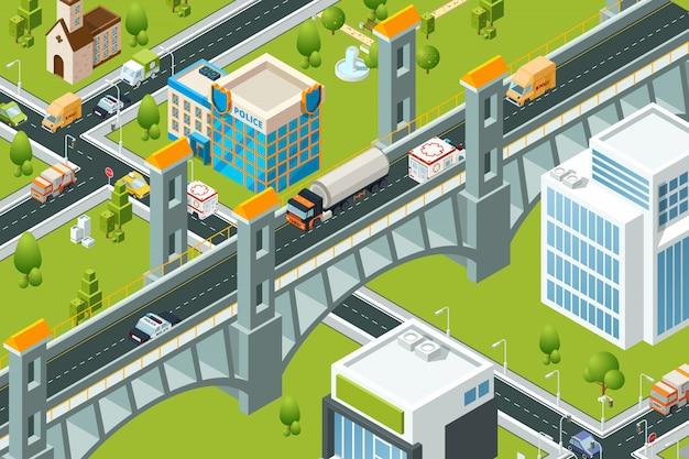 Pont De Ville Isométrique. Train Viaduc Ferroviaire Paysage Urbain 3d Carte Route Route Photos Vecteur Premium