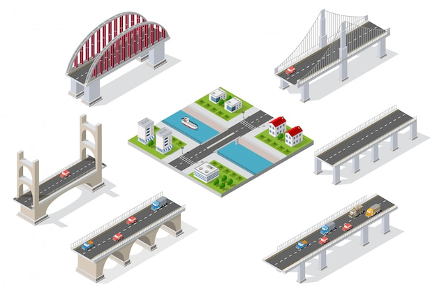 Ponts dans le domaine de l'industrie Vecteur Premium