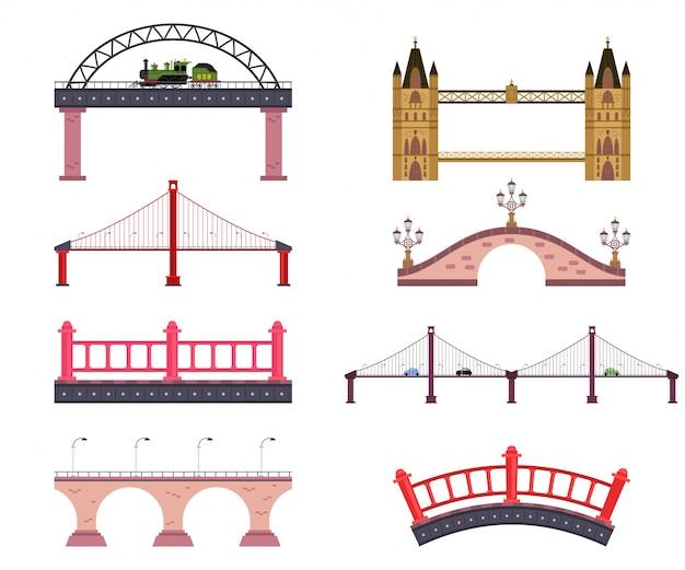 Ponts Vector Dessin Animé Plat Simple Ensemble Isolé Vecteur Premium