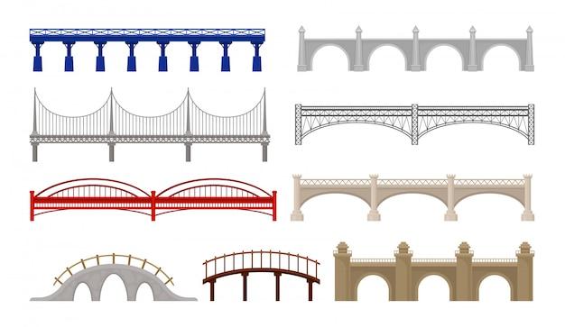 Ponts De Ville De Conception Différente Sur Fond Blanc. Vecteur Premium