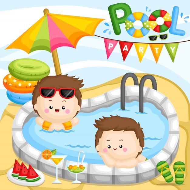 Pool party boy Vecteur Premium