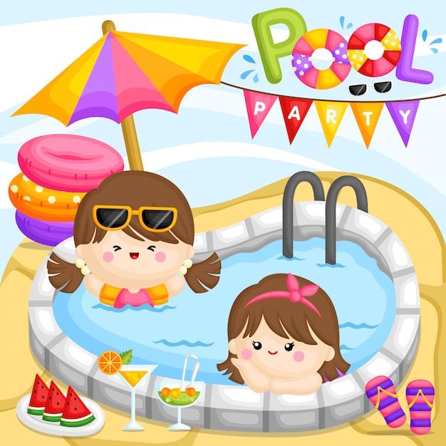 Pool party girl Vecteur Premium