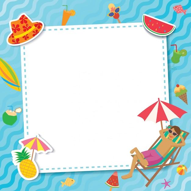 Pool-party-template-relax Vecteur Premium