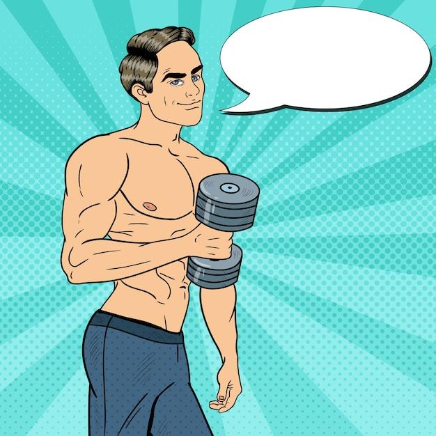 Pop Art Athletic Strong Man Exercice Avec Des Haltères. Illustration Vecteur Premium