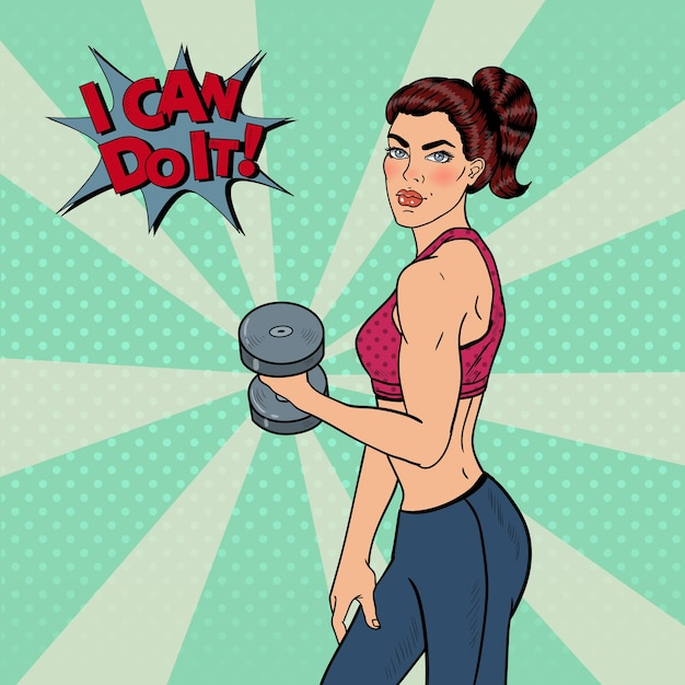 Pop Art Athletic Strong Woman Exercice Avec Des Haltères. Illustration Vecteur Premium