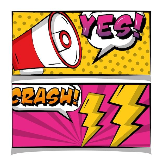 Pop art bande dessinée bannière haut-parleur chrash oui texte rétro Vecteur Premium