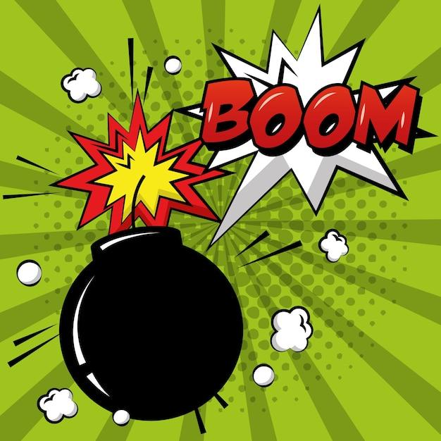 Pop Art Bande Dessinée Bombe Boom Explosion Vert Sunburst Vecteur Premium