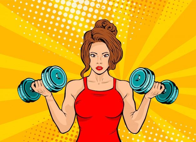 Pop art belle femme avec des haltères en gym Vecteur Premium
