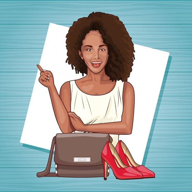Pop art belle femme souriant dessin animé Vecteur Premium