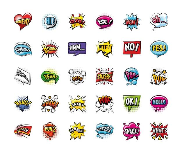 Pop Art Bulles Détaillées Style 30 Icon Set Design De Bande Dessinée D'expression Rétro Vecteur Premium