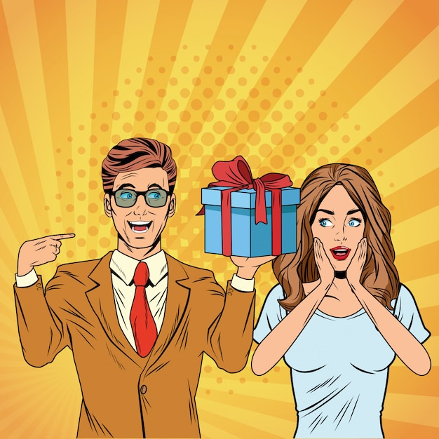 Pop Art Business Couple Avec Présent Dessin Animé Vecteur Premium