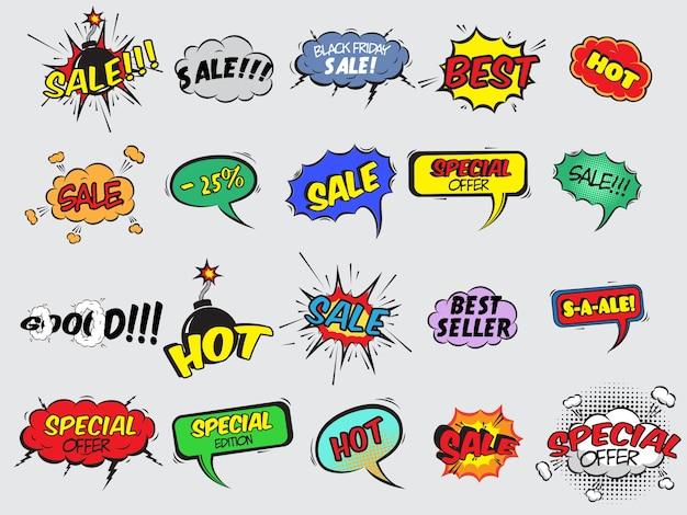 Pop Art Comique Vente Discount Promotion Icônes Décoratives Ensemble Avec Explosif à Lame Illustration Vectorielle Isolée Vecteur gratuit