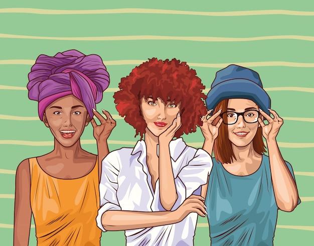 Pop art fashion et dessin animé de belles femmes Vecteur Premium