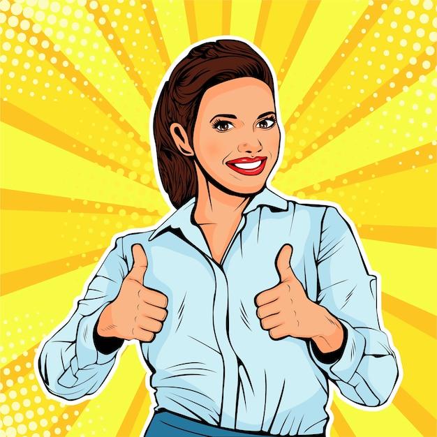 Pop art femme d'affaires réussie Vecteur Premium