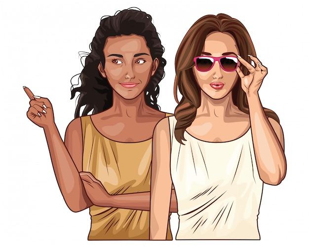 Pop art femmes amis souriant dessin animé Vecteur Premium