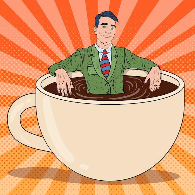 Pop Art Homme D'affaires Heureux Se Détendre Dans Une Tasse De Café. Pause De Travail. Vecteur Premium