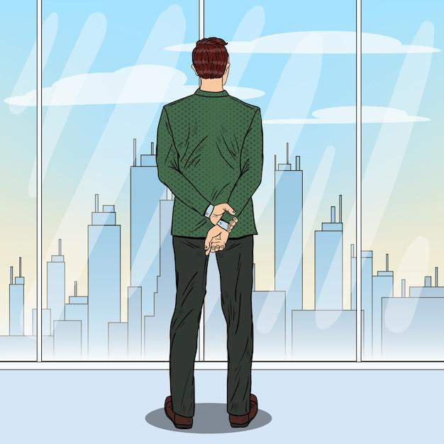 Pop Art Homme D'affaires Prospère Regardant La Ville à Travers La Fenêtre. Vecteur Premium