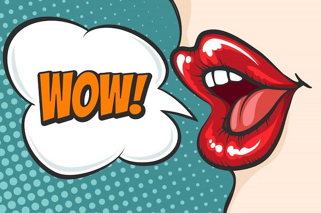 Pop art lèvres avec bulle de wow Vecteur Premium