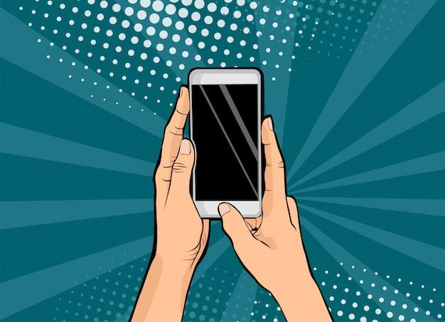 Pop Art Mains Féminines Sur Smartphone Pop Art Vecteur Premium