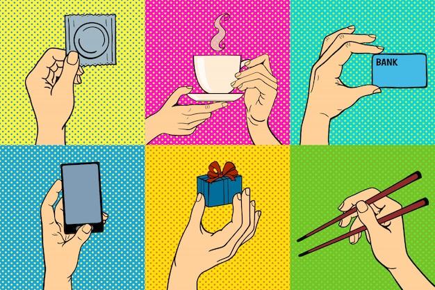 Pop art mains vector illustration ensemble Vecteur Premium