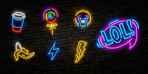Pop art set d'icônes. néon pop art. enseigne lumineuse, bannière lumineuse. Vecteur Premium