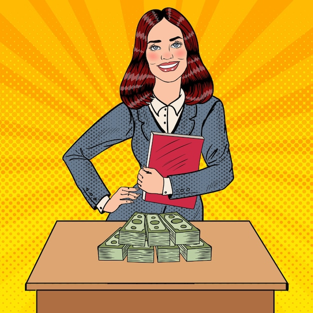 Pop Art Souriant Femme D'affaires Debout Derrière La Table Avec De L'argent. Vecteur Premium