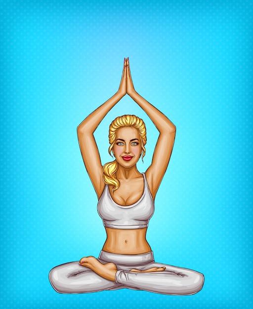 Pop art souriant fille blonde faire du yoga, assis dans une pose de lotus ou padmasana Vecteur gratuit