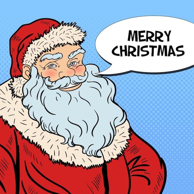 Pop Art Souriant Père Noël Souhaitant Joyeux Noël Dans La Bulle De Dialogue Comique. Illustration Vecteur Premium