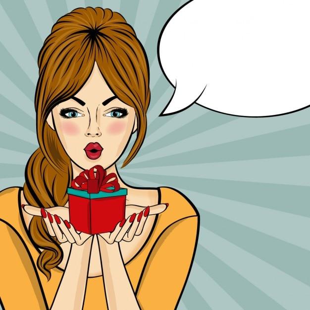 Pop art surpris femme qui tient un cadeau dans leurs mains comic femme avec bulle de la parole pin up girl Vecteur gratuit