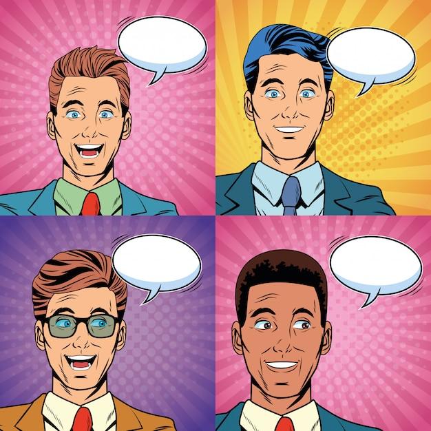 Pop art surpris hommes d'affaires visages cartoon Vecteur Premium