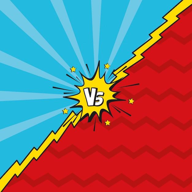 Pop art versus fond Vecteur Premium