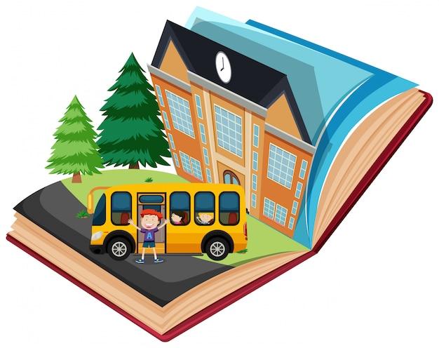 Pop-up school book Vecteur gratuit