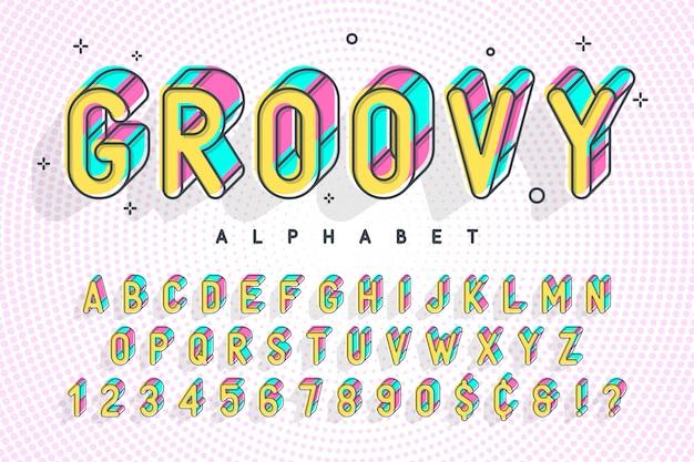 Popart d'affichage à la mode, alphabet, lettres et chiffres Vecteur Premium