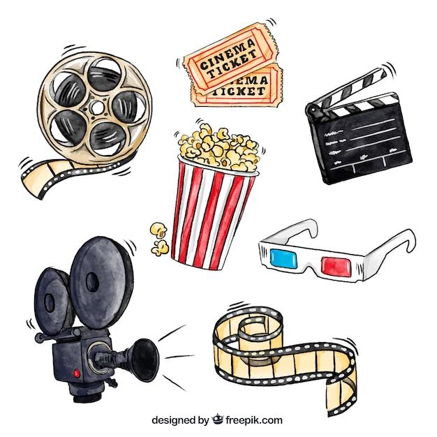 Popcorn et d'autres éléments de film d'aquarelle Vecteur Premium