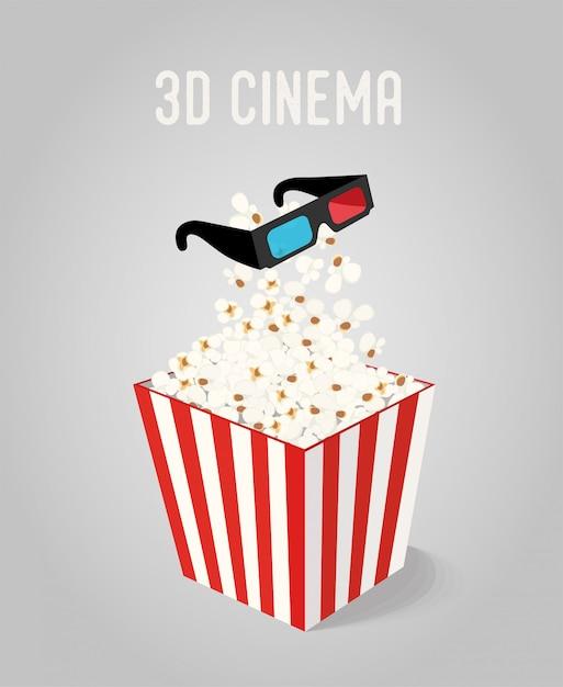 Popcorn en boîte avec des lunettes 3d pour le cinéma Vecteur Premium